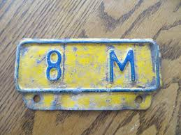 8 M TON OLD PORCELAIN TRUCK LICENSE PLATE TOPPER OR SIGN