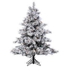Flocking Christmas Tree Kit by 4 5 U0027 Pre Lit Flocked Alaskan Artificial Christmas Tree Clear