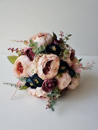 Peony Bridal Bouquet Silk Wedding Flowers Blush Vintage Rustic Shabby Chic Bride Bridesmade