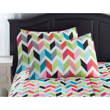 Walmart Yellow Chevron Curtains by Your Zone Bright Chevron Bed In A Bag Bedding Set Walmart Com