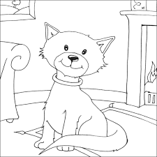 Cute Cat On Mat Coloring Page