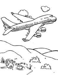 Airplane Cartoon Jumbo Jet Coloring Page