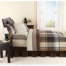 mainstays plaid brown bed in a bag bedding set walmart com for
