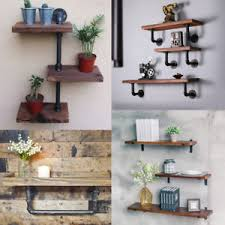Image Is Loading Vintage Industrial Wall Mount Iron Pipe Shelf Rustic