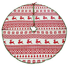 Homeford Ugly Sweater Knitted Yarn Christmas Tree Skirt Ivory Red 48 Inch