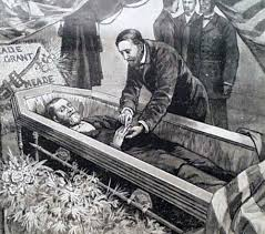 Bunting Surrounds Grants Coffin As His Son Places A Ring On Finger Illustration