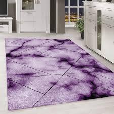 moderner kurzflor teppich marmor muster wohnzimmer schlafzimmer lila meliert ceres webshop