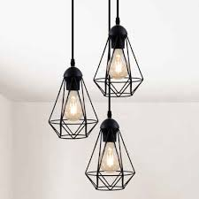 b k licht pendelleuchte led hängele schwarz metall draht vintage hängeleuchte retroleuchte e27
