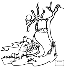Cartoons Little Red Riding Hood Sits To Rest Coloring