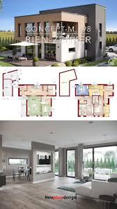 fertighaus stadtvilla modern mit flachdach garage bauen
