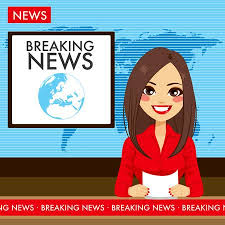 Beautiful Young Tv Newscaster Woman Reporting News Sitting In A Studio Illustration