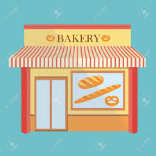 Bakery shop building facade with signboard Flat style illustration or icon Loaf of bread