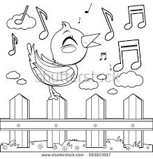Blue Bird Singing On A Wooden Fence Black And White Coloring Book Page