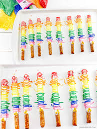 Halloween Pretzel Rods by How To Make Chocolate Covered Pretzels With Rainbow Drizzel Oh