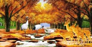 Get Quotations Large TV Wall Mural Wallpaper Background Bedroom Sofa European Country Crane Deer Creek Woods