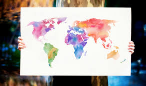 Watercolor World Map Art Print Magenta Pink Purple Painting