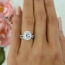 325 Ctw Vintage Style Bridal Set Oval Halo Ring Man Made