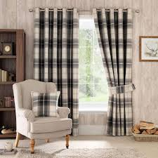 Bendable Curtain Track Dunelm by Highland Check Charcoal Lined Eyelet Curtains Dunelm Curtains