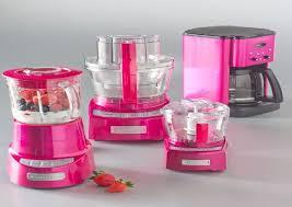 Nett Hot Pink Kitchen Accessories Two Strawberries Near Small Appliances On Gray Table
