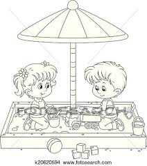Clipart Of Children Play In A Sandbox K20620594