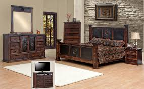 Amazon Com King Size Copper Creek Bedroom Set Dark Stain