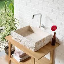 wohnfreuden marmor waschbecken kotak 50 cm groß recht eckig creme steinwaschbecken oder naturstein waschbecken für bad gäste wc inkl techn