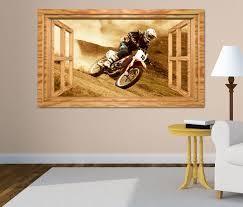 3d wandtattoo motocross motorrad rennen cross fenster wandbild wohnzimmer wand aufkleber 11l1865 wandtattoos und leinwandbilder günstig