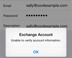 iPhone Exchange Account Unable to verify account information