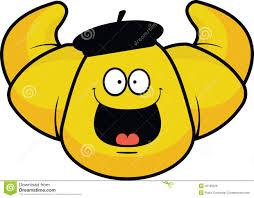 Cartoon Croissant Happy Stock Vector
