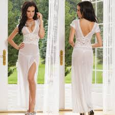 white black red long dressing night gown sheer transparent