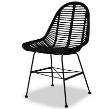 VidaXL 2X Dining Chair Natural Rattan Wicker Black Colonial Kitchen Home  Seat