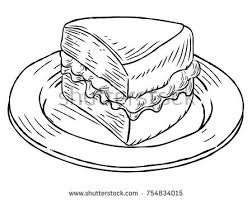 A jam and cream Victoria sponge cake slice on a plate hand draw in a retro