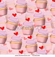 Vecror and illustration seamless pattern of pink pastel color hand drawing and painting cupcake on pink