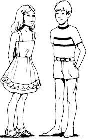Child Little Boy And Girl Coloring Pages