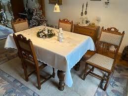 antikes eiche esszimmer ausziehbarer tisch und 4 stühle ca