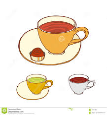 Tea Cup With Candy At Saucer Colored Set Stock Vector