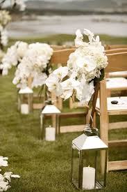 Rustic Outdoor White Lanterns Wedding Aisle
