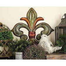 Fleur De Lis Cabinet Knobs Home Depot by Metal Fleur De Lis Wall Decor In Green Gold And Red Set Of 3