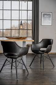 kawola stuhl zaja esszimmerstuhl kunstlederbezug vintage schwarz