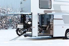 Motorhome With Motorcycle Garage With Creative Photos