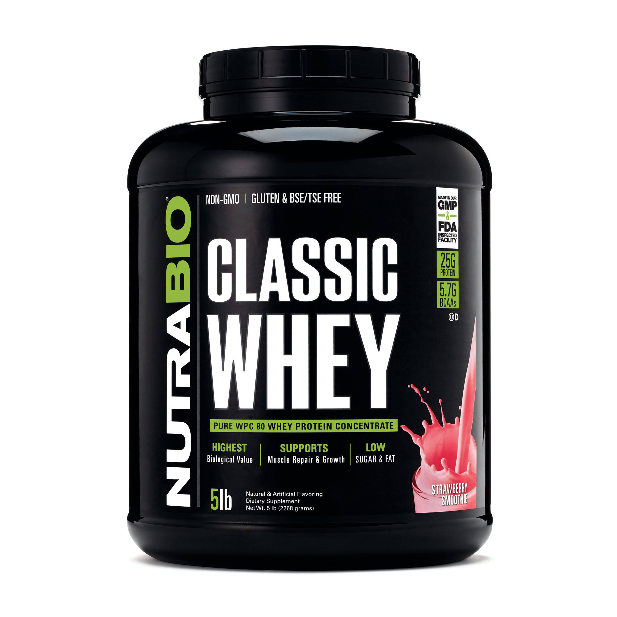 Nutrabio Whey Protein Concentrate Sport Nutrition - Strawberry, 5lbs
