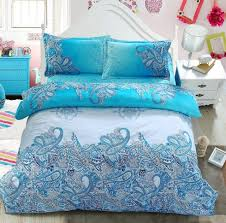 Turquoise Paisley Bedding set Green Blue duvet cover bed in a bag