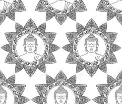 Black And White Coloring Page Seamless Pattern Of Buddha Head With Floral Decoration Wallpaper For Textile Print Mascots