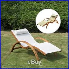 Wooden Patio Chaise Lounge Chair Outdoor Furniture Pool Garden Armrest Lounger