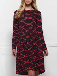 vintage long sleeve rhombus print high waist ball gown dress for