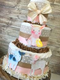 Rustic Farm Friends Diaper Cake Theme Baby Shower Centerpiece Decorations By AllDiaperCakes