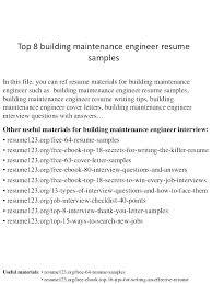 Maintenance Resume This Is Tech Building Technician Top 8 Engineer