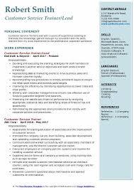 Customer Service Trainer Lead Resume Example