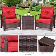 Giantex 3PCS Rattan Wicker Patio Bistro Furniture Set Chairs ... 2019 Bistro Ding Chair Pe Plastic Woven Rattan 3 Piece Wicker Patio Set In Outdoor Garden Grey Fix Chairs Conservatory Clearance Small Indoor Simple White Cafe Charming Round Green Garden Table Luxury Resin China Giantex 3pcs Fniture Storage W Cushion New Outdo D 3piece For Balcony And Pub Alinum Frame Dark Brown Restaurant Astonishing Modern Design Long Dwtzusnl Sl Stupendous Metalatio Fabulous Home Tms For 4