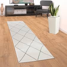 teppich wohnzimmer mit modernem skandi rauten muster kurzflor hell in weiß grösse 80x150 cm